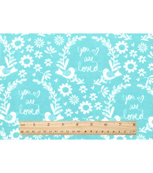 Nursery Flannel Fabric-Lilly Mint You Are So Loved
