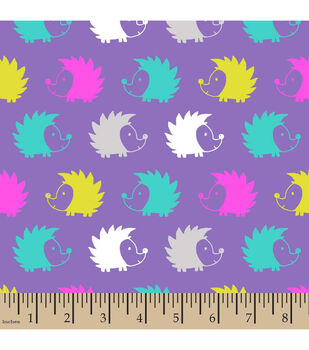 Snuggle Flannel Fabric-Hedgehogs Purple