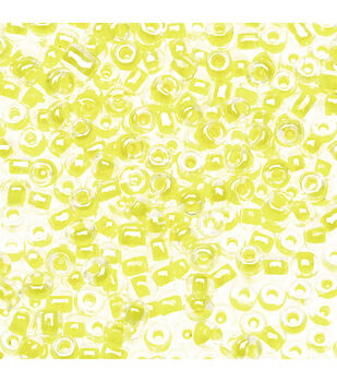 Glass Seed Beads, Inside Color Luster, Yellow, 10/0