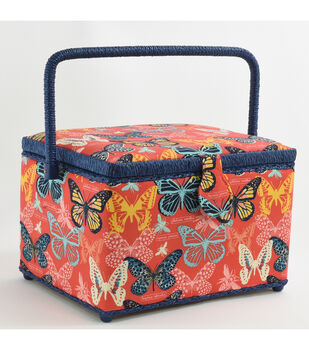 Fw21 Sew Basket Lg Rect Coral Butterfly