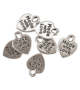 "Silvertone ""Made with Love"" Metal Charms 75/pkg"