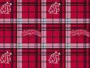 Washington State University NCAA Plaid Fleece Fabric, , hi-res