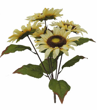 Blooming Autumn 18'' Sunflower Bush-Beige