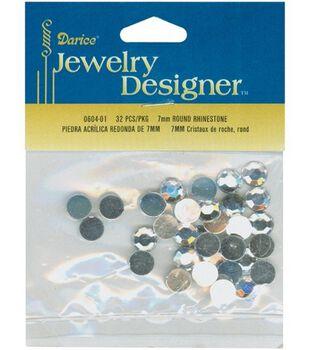 Darice Jewelry Designer 7mm Round Rhinestones-32PK