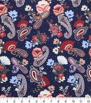 Keepsake Calico Cotton Fabric-Paisley Navy, , hi-res