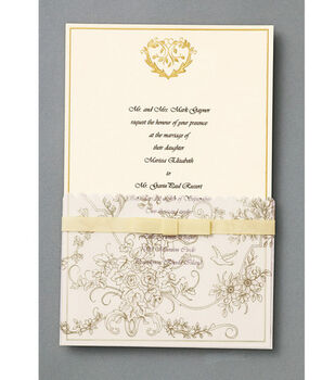 Wilton® 25ct Wedding Toile Invitation Kit-Gold
