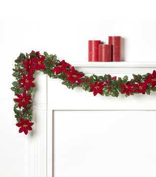 Blooming Holiday 66'' Poinsettia, Holly & Berry Chain Garland-Red