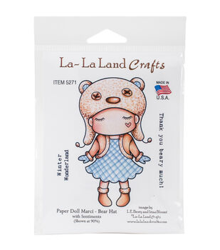 La-La Land Crafts Cling Stamps-Paper Doll Marci-Bear Hat