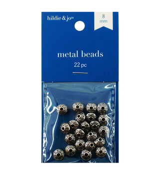 Blue Moon 8mm Metal Spacer Bead-Roundel 22PK/Silver