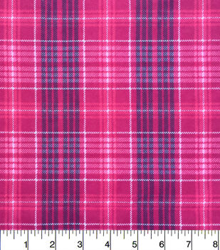 Snuggle Flannel Fabric-Leighton Pink Plaid