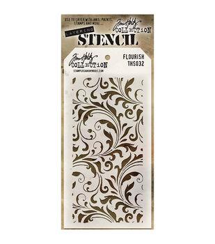 "Tim Holtz® 4.125""X8.5"" Layered Stencil-Flourish"