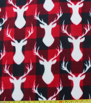 Anti Pill Fleece Fabric-Stag Head Red Black Check