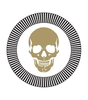Maker's Halloween 8ct Dinner Paper Plates-Gold Skulls