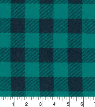 Snuggle Flannel Fabric-Teal Buffalo Check
