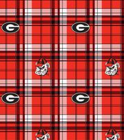 University of Georgia NCAA Plaid Fleece Fabric, , hi-res