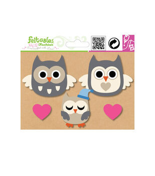 Embellishment Set-Owl Family Trio Plus Hearts-5 pcs-Multi