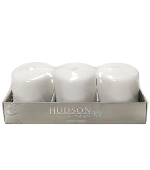 "Hudson 43™ Candle & Light Collection 3pk 3""x3"" Pillar Candles-White"