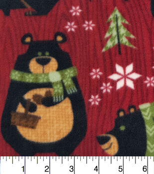 Christmas Fleece Fabric-Northwoods Bears And Trees