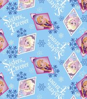Disney Frozen Sisters Frame Blue Fleece Fabric, , hi-res