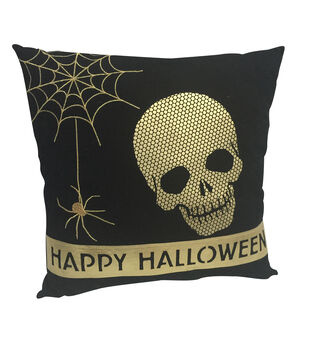 Maker's Halloween Pillow-Skeleton Head and Spider Web