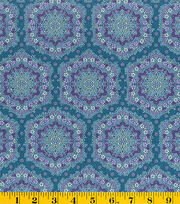 Made In America Cotton Fabric-Floral Medallion Blue, , hi-res