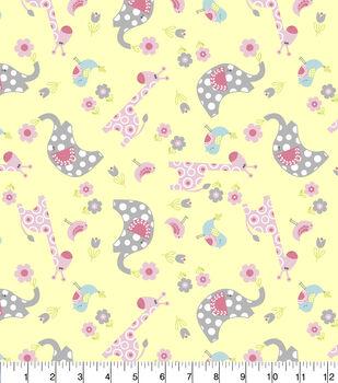 Nursery Flannel Fabric-Tossed Jungle Animals
