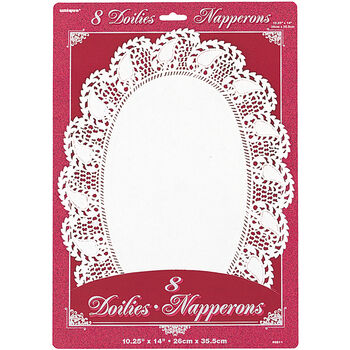Unique Industries Paper Doilies Oval White
