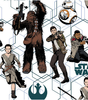 Star Wars VII Heroes Allover Cotton Fabric