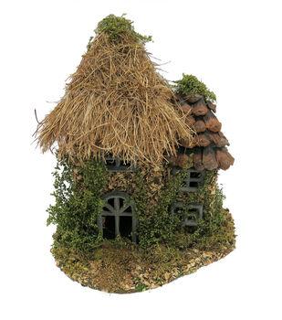Fairy Garden Grass Pinecone Roof House