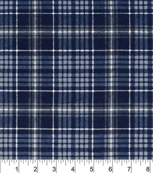 Snuggle Flannel Fabric-Navy Grey Plaid
