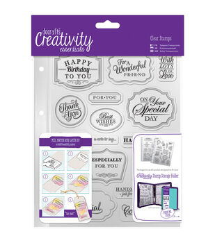 Docrafts Creativity Essentials A5 Clear Stamp Set-Trad Sentiment