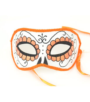 Maker's Halloween Day Of The Dead Mask With Trim-Orange & Black