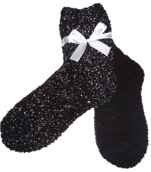 Solid Black & Silver Lurex Tactile Sock