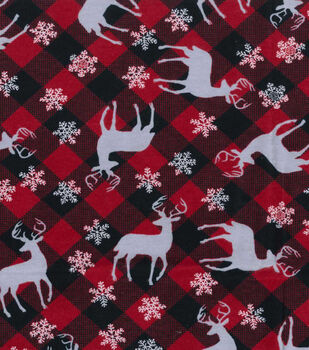 Christmas Fleece Fabric-Deer And Flakes Plaid Flannel