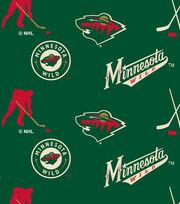 Minnesota Wild  NHL Tossed Print Fleece Fabric, , hi-res
