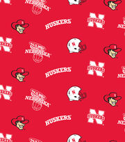 University of Nebraska NCAA  Fleece Fabric, , hi-res