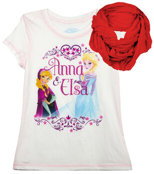 Disney Frozen Anna & Elsa Shirt with Scarf