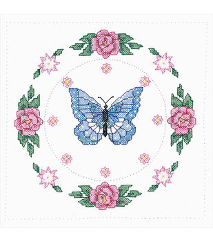 Tobin Stamped Butterfly Rose White Quilt Blocks