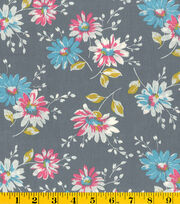 Made in America Cotton Fabric-Partially Colored Flowers, , hi-res