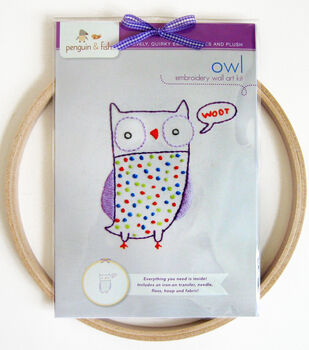 """Penguin & Fish Embroidery Kits 8"""" Round Stitched In Floss-Owl"""
