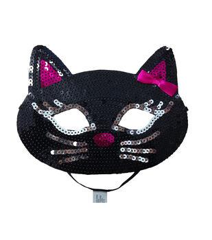 Maker's Halloween Cat Sequin Mask-Black
