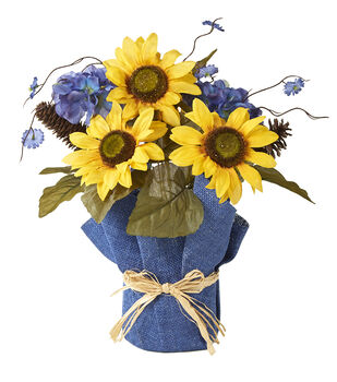 Blooming Autumn 15'' Sunflower & Hydrangea Arrangement-Yellow & Blue