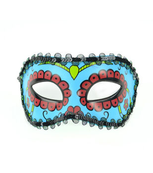 Maker's Halloween Day of The Dead Mask With Flowers-Blue & Red