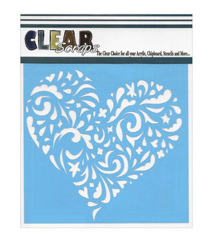 Clear Scraps 6''x6'' Stencils-Swirl Heart