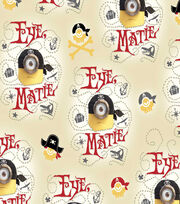 Minions Pirates Beige Cotton Fabric, , hi-res