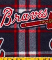 Atlanta Braves MLB Plaid Fleece Fabric, , hi-res