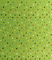 Keepsake Calico™ Cotton Fabric-Rainbow Dot On Green , , hi-res
