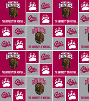 University of Montana NCAA Red & Gray Block Cotton Fabric, , hi-res