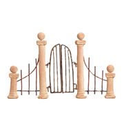 Fairy Garden Garden Gate White Clay And Wire, , hi-res