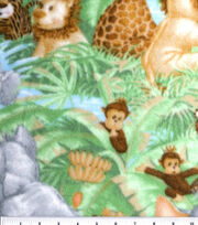 Nursery Fabric Jungle Babies Fleece Animals All Over, , hi-res